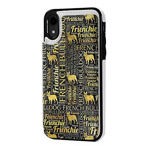 iPhone Xr Case PU Leather Wallet case French Bulldog Silhouette Quotes Flip Phone Cases Cover Shockproof Protective Case with Card Holder