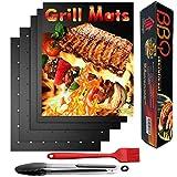 Nifogo Tappetino Barbecue 50x40cm, BBQ Grill Mat & Pinze & Spazzola, 0.3mm Spessore Antiaderente e Riutilizzabile, Alte Temperature, Facile da Pulire per carbonella, Barbecue a Gas e Forno (C-5PCS)