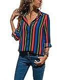 Aleumdr Blusa Donna Scollo V Bluse e Camicie a Righe Camicetta Donna con Manica Lunga Camicia Donna Elegante Moderna…