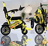 7 Colors (XL) EAONE No.1D9X, Best Rated Exclusive Folding Lightweight Motorized Electric Wheelchair, All Terrain Dual 500W Motors, Heavy-Duty, Portable Electric Wheelchair (21.5 '' Seat Width)(Yellow)
