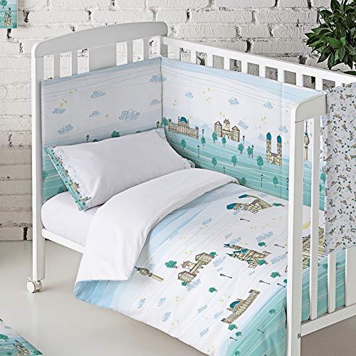 Eiffel Textile Baby Protège-lit matelassé pour bébé, 100% coton, qualité enfant, imprimé allemand, couleur vert, 40 x 180 cm