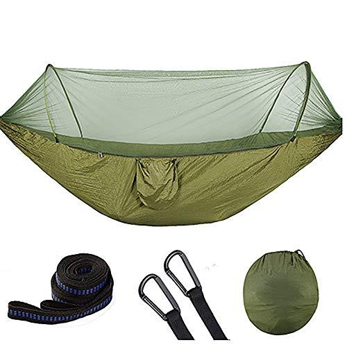 Campinghangmat Met Net, 360-Graden Bescherming Tegen Insecten, Volledig Automatische Speed-Open Hangmat Met Klamboe, Outdoor Enkele Dubbele Draagbare Anti-Muggenhangmat