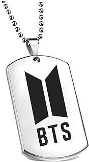 BTS - Collar de Acero Inoxidable con Colgante de Letra de BTS