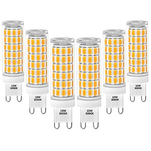 10W G9 LED Glühbirnen Leuchtmittel Halogenlampe Ersetzen 900Lm SMD5730 Flimmerfrei Warmweiß 3000K AC100-265V Nicht Dimmbar CE ETL Zertifiziert 6er Pack von Enuotek