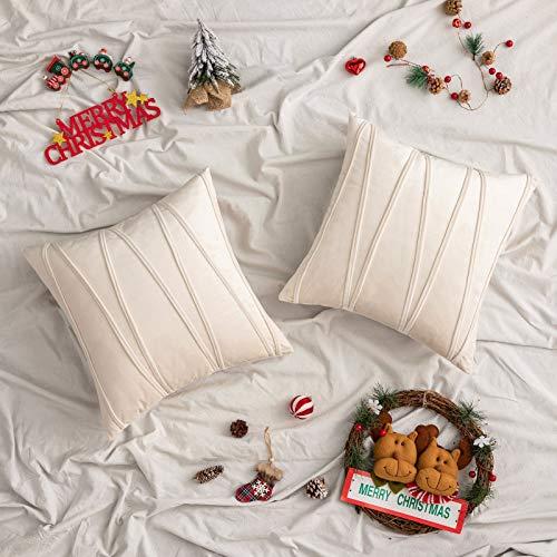 Woaboy - Juego de 2 fundas de almohada de terciopelo a rayas modernas decorativas sólidas fundas de cojín para cama, sofá, coche, sala de estar, 55 x 55 cm, color crema