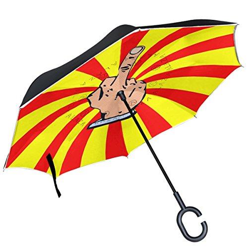 ALAZA dedo medio rojo amarillo rayas paraguas invertido