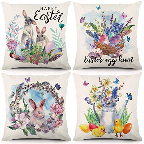 Liwoton Easter Pillow Covers 18x18 Inch Set of 4 Spring Decorations Rabbit Throw Pillowcase Bunnies with Eggs Cotton Linen Cushion Case for Home Decor
