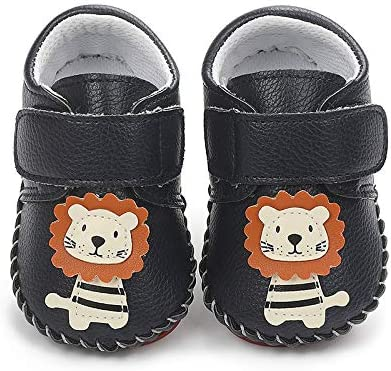 YWY Baby Boys Girls PU Shoes Slippers with Non Skid Bottom Newborn Slip On Crib Indoor First-Walking Shoess