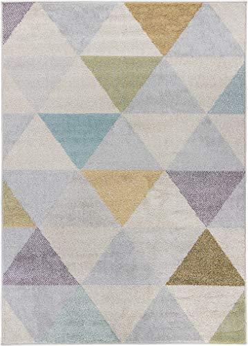Carpetforyou Designer moderner Kurzflor Teppich Smoothie Dreieck bunt in 4 Größen für Wohnzimmer oder Kinderzimmer (80 x 150 cm)
