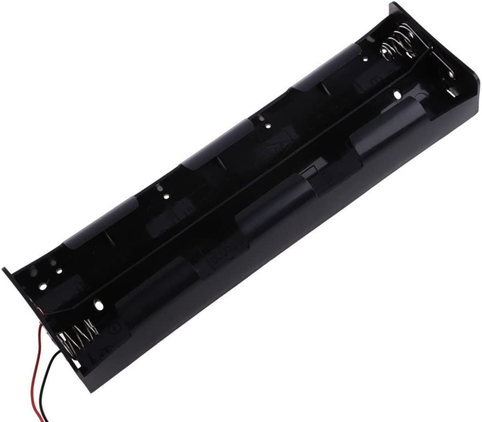 5GAC 12V 8-D Cell Battery Holder to 5.5x2.1mm Male Power Supply, 18AWG - 3 ft Long