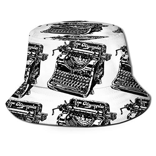 popluck Sombrero de pescador para máquina de escribir, unisex, color negro