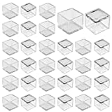 "1"" x 1"" Square Chair Leg Caps, WarmHut 32pcs Transparent Clear Anti-Slip 1 Inch Chair Leg Floor Protectors Chair Table Bar Stool Leg Covers Furniture Leg Cube Feet"