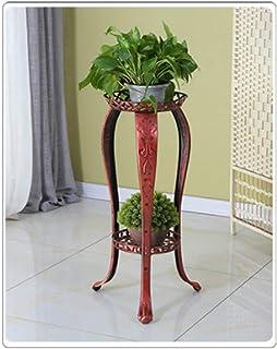 耐久性のある植物フレームラック、 ヨーロッパのフラワーフレーム錬鉄マルチレイヤインドアグリーンの花のリビングルームのフロアバルコニーオーキッドホームフロア31cmX82cmハンギングスタンド(カラー:ブラウン) 組み立てが簡単なフラワーシェル ...