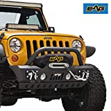 EAG Front Bumper Stubby with Skid and Winch Plate Fit for 07-18 Wrangler JK Offroad