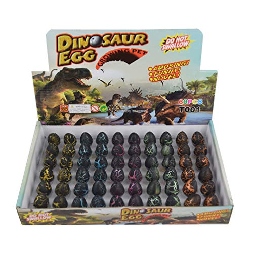 Yeelan Dinosaurier Eier Spielzeug schlüpfen wachsenden Dino Drachen Ei für Kinder Small Size Pack von 60 Stück, Schwarzer Riss