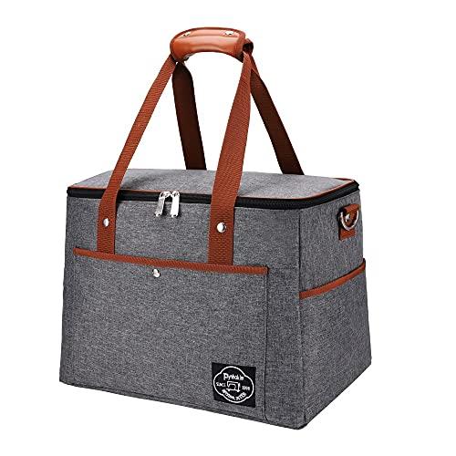 Pynhoklm Kühltasche 28L Picknicktasche Faltbar Thermotasche Lunchtasche Mittagessen Tasche Picknick-Tasche für Büro Camping Beach Auto Outdoor Reisen