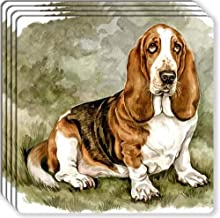 Canine Designs Basset Hound Rubber Coasters Set of 4