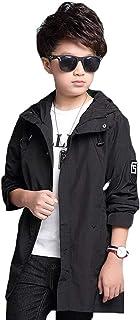 [美しいです] キッズ服 トレンチコート ジャケット 長袖トップス 春秋 無地 フード付き バックポケット プリント ファスナー カジュアル