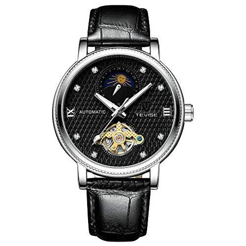 Smartwatches,Automatischer Uplink Machinery Watch Litschi Ledergürtel Lunar Phase Tour Schwungrad Schwarzgesichteter Schwarzer Gürtel