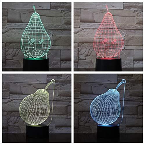 Nur 1 Stück Birnen Tisch 3D Lampe USB Touch Sensor RBG Neuheit Beleuchtung Kind Kinder Baby Geschenk Gadget Obst LED Nachtlicht Dekor