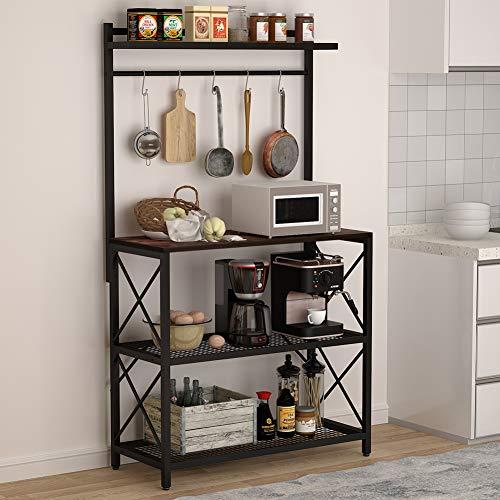 Tribesigns Industrial Kitchen Baker's Rack, 4-Tier Utility Storage Shelf, Microwave Oven Stand Rack with 5 Hooks, Floor Standing Spice Rack Organizer Workstation, Vintage