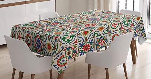 ABAKUHAUS marroquí Mantele, Extracto de la Hoja Ornamental, Resistente al Agua Apto Uso Exterior e Interior No Destiñen, 140 x 200 cm, Multicolor