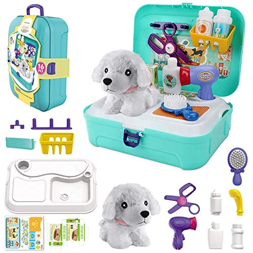 TEUVO Pet Care Play Set Doctor Kit for Kids, 16 Pcs Doctor Pretend Play Vet Dog Grooming Toys Puppy Dog Carrier Feeding Dog Backpack Gifts for Girls Boys 3-7 Years Old