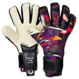 Renegade GK Limited Edition Rogue Slash Goalie Gloves with Pro-Tek Fingersaves | 4mm Giga Grip & Neoprene | Black, Purple, Gold Soccer Goalkeeper Gloves (Size 8, Youth-Adult, Neg. Cut, Level 4+)