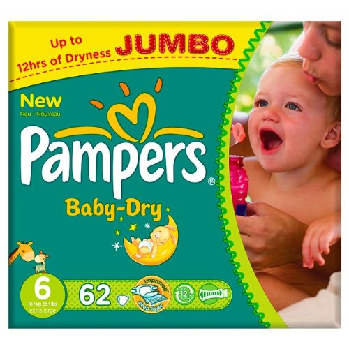Pampers Baby Dry Größe 6 (16 + kg) Jumbo Pack 62 pro Packung