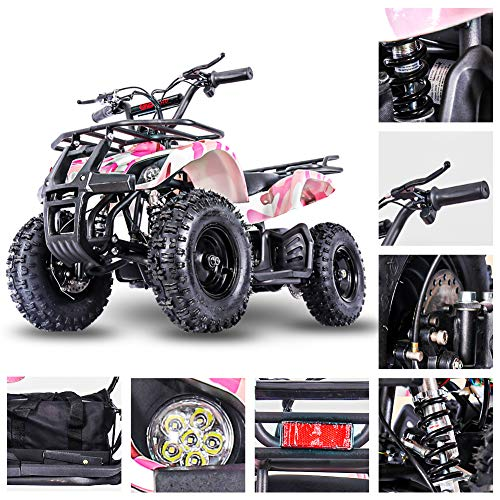 Fit Right 2020 Sonora Kids 24V Mini Quad ATV, Dirt Motor Electric Four Wheeler Parental Speed Control, With350W Motor Power Reserve, Large Tires & Wide Suspension (PINKCAMO)