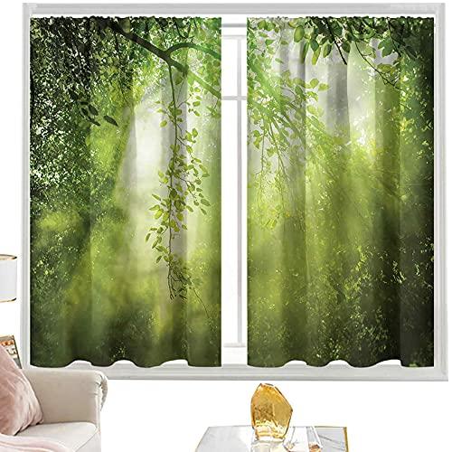 Cortinas opacas con bolsillo para barra, bosque, vigas de sol en el bosque de 52 x 63 pulgadas, cortina de oscurecimiento para habitación de niños