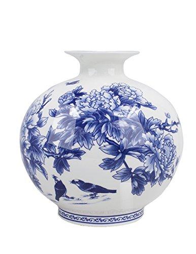 Dahlia Birds in Peony Bush Blue and White Bone China Flower Vase, Pomegranate Vase