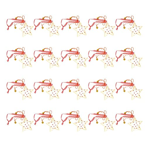 AETOK 20 colgantes adorables de cinco puntos, decoración de árbol de Navidad para colgar adornos de fiesta