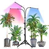 LED Grow Light with Stand,Juhefa Tri-Head Plant Light with Red Blue Spectrum for Indoor Plants, 3 Lighting Modes & 10 Levels Dimmable,Timing 3/9/12H,Tripod Adjustable 15-47 Inch