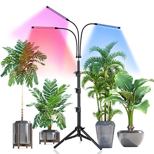 Grow Light with Stand,Juhefa Tri-Head Plant Light with Red Blue Spectrum for Indoor Plants, 3 Lighting Modes & 10 Levels Dimmable,Timing 3/9/12H,Tripod Adjustable 15-47 Inch