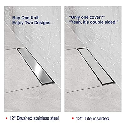 Neodrain 12-Inch Linear Shower Drain With 2-in-1 Flat & Tile insert Cover, Brushed 304 Stainless Steel Rectangle Shower Floor Drain,Floor Shower Drain With Hair Strainer
