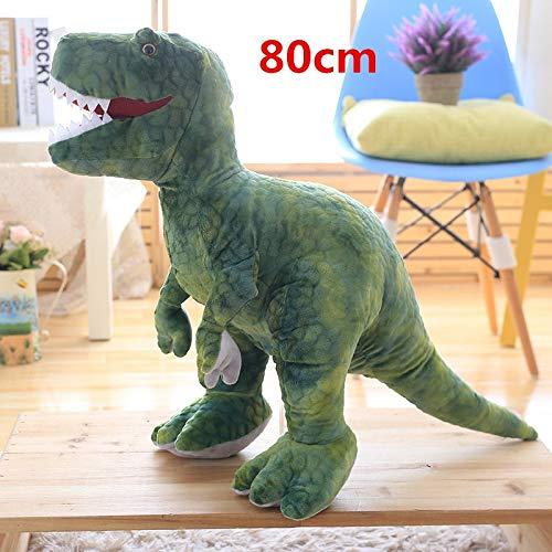 CGDZ Plüschspielzeug 50cm-80cm Simulation Dinosaurier Plüschtiere Kuscheltiere Plüsch Dinosaurier Kissen Puppen Kinder Mädchen Geschenke 80 cm grün