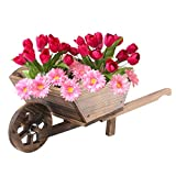 Denny International® Burntwood Wooden Wheel Barrow Planter for Garden Outdoor Patio Summer Cart