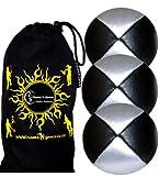 Jonglierbälle 3er Set - Profi Beanbag Bälle aus Glattleder +Tasche. Set Ideal Für Anfänger Wie Auch Für Profis.