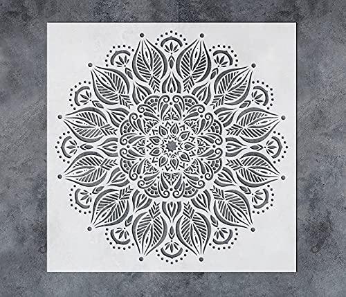 GSS Designs Large Prosperity Mandala Wall Stencils 16 x 16 Inch - Reusable Stencils Laser Cut Mandala Stencils for Painting on Wood Floor Wall Tile Fabric Furniture - Mandala Painting Stencils