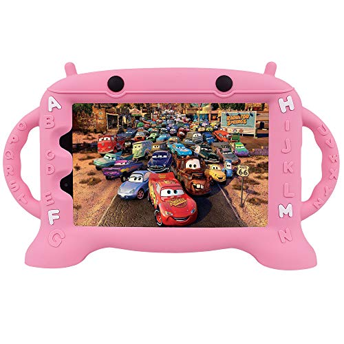 CHIN FAI for Samsung Galaxy Tab A 8.0 2019 Case SM-T290/T295, Light Weight Shockproof Silicone Handle Stand Protective Cover for Galaxy Tab A 8.0 Inch 2019 Without S Pen Version-Pink