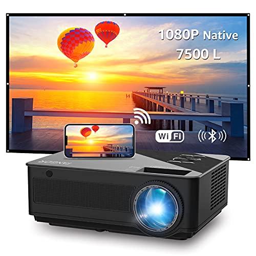 Proyector, FANGOR 7500L Full HD WiFi Proyector 1080P Nativo Vídeoproyector 4K Corrección Tropezoidal Cine en Casa Proyector Bluetooth 65000 Horas, Compatible con HDMI/USB/SD/VGA/AV/TV Box