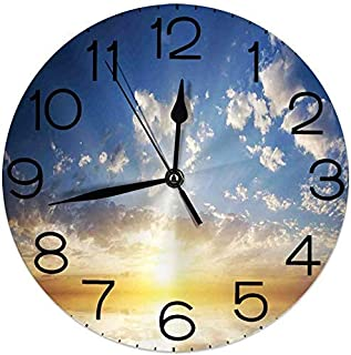 asdew987 Round Wall Clock Home Decorative, Sunset Reflection on The Sea View with Sunlight in The Horizon for Living Room Office Bedroom
