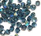 Juego de 40 perlas de cristal bohemias, 4 mm, doble cono, perlas checas, perlas de cristal, cuentas de cristal, bicone, selección de colores, cristal, Indicolite., 4x4 mm