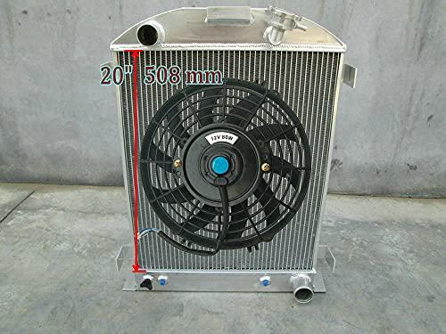 Radiador de aluminio de 62 mm + ventilador para 1932 F-ord HI-BOY Grill Shells Chevy V8 modelo AT/MT 32