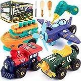 Desmontar juguetes, coche, retro, eléctrico, avión, tren de vapor, barco de vapor, con taladro eléctrico y motor, construcción de vehículos, conjunto de juguetes para niños y niñas de 6 años