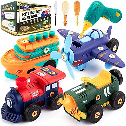 Desmontar juguetes, coche, retro, eléctrico, avión, tren de vapor, barco de vapor, con taladro eléctrico y motor, Juguetes Educativos Regalos para Niños 6+ Años
