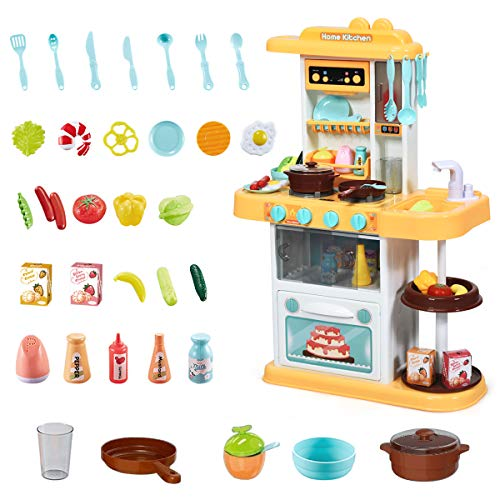 COSTWAY Kinderküche mit Spieluhr und Lichtern, Spielküche inkl. 38 STK. Zubehör, Kinderspielküche mit Wasserpumpe, Spielzeugküche für Kleinkinder ab 3 Jahren (Gelb)