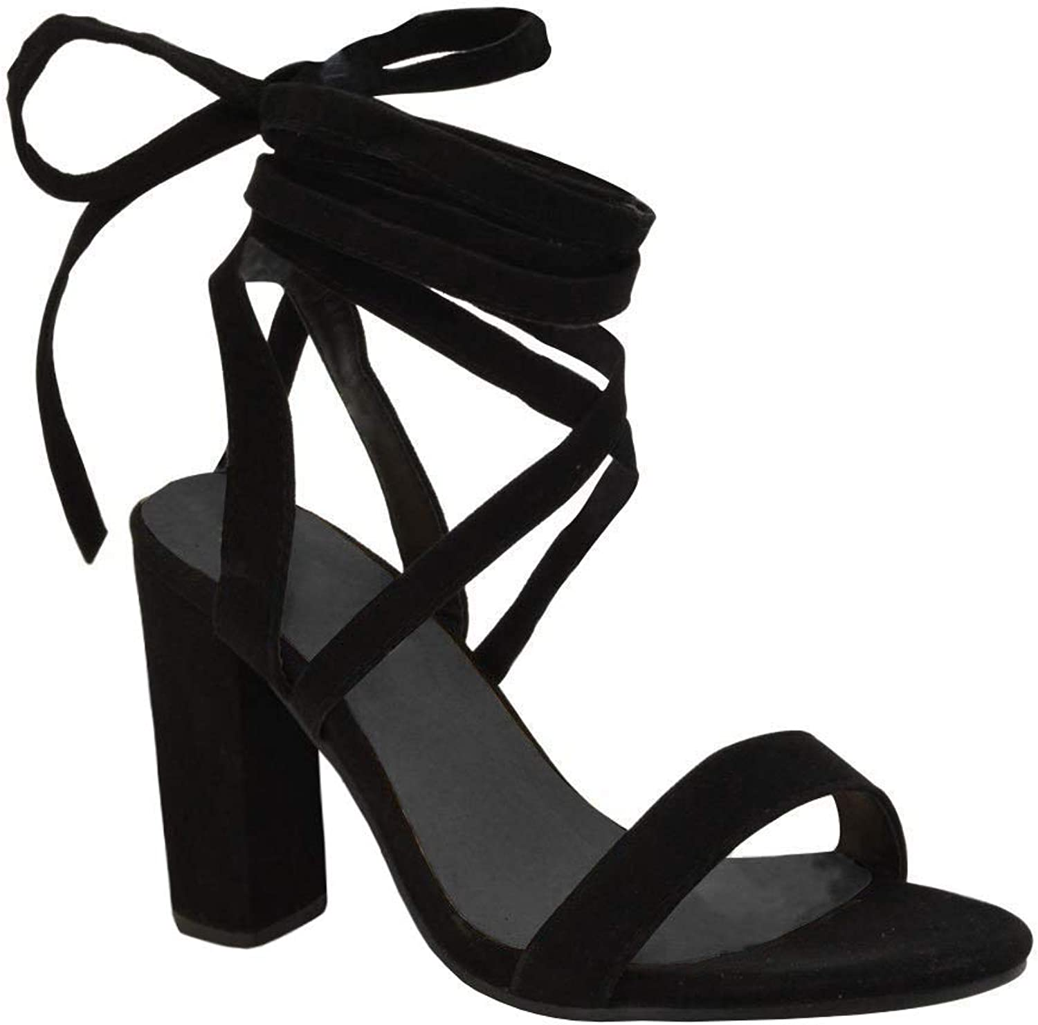 5e00bdba6f2eb Lace Up Faux Suede High Heeled Strappy Sandals shoes Bbalizko Womens ...