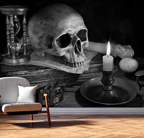 Vlies Tapete Poster Fototapete Totenkopf Sanduhr Knochen Mystik Farbe schwarz weiß, Größe 120 x 90 cm selbstklebend